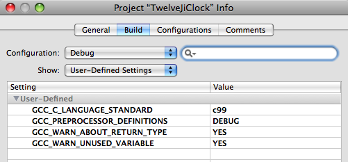 Project Setting in Xcode