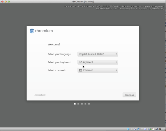 Chrome OS, the 1st screen